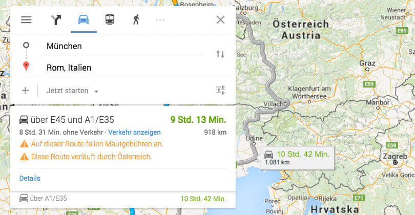google maps warnt auto fah rer vor fahr ten durch ster reich. Black Bedroom Furniture Sets. Home Design Ideas